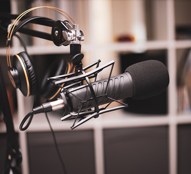 studio equipment and microphone set up for a recording session with singer