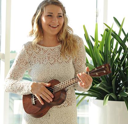 female musician with ukelele